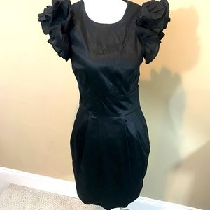 French Connection Flared Sleeve Black Dress Sz 4